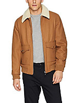 cheap -men's wool bomber with sherpa collar, camel, xxx-large