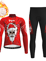 cheap -21Grams Men's Long Sleeve Cycling Jersey with Tights Winter Fleece Polyester Black / Yellow Purple Red Santa Claus Bike Clothing Suit Thermal Warm Fleece Lining Breathable 3D Pad Warm Sports Graphic