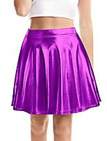 cheap -women's shiny skirt metallic flared pleated skater skirt with high elastic waistband (purple, l)