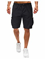 cheap -men classic 9 inch inseam elastic waist shorts walk hiking multi pockets trunks casual outdoor athletic pants black