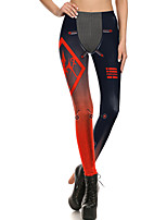 cheap -Women's Sporty Comfort Gym Yoga Leggings Pants Patterned Full Length Red