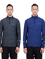 cheap -mens 2-pack quarter zip long sleeve quick-dry sweatshirt gym clothes for workout and exercise (charcoal-eclipse, l)