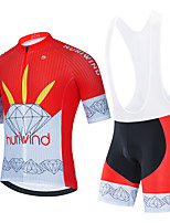 cheap -Men's Short Sleeve Cycling Jersey Cycling Jersey with Bib Shorts Cycling Jersey with Shorts Black Red Black / White Bike Breathable Quick Dry Sports Graphic Mountain Bike MTB Road Bike Cycling