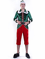 cheap -Santa Suit Costume Adults' Men's Christmas Christmas Festival Christmas Halloween Festival / Holiday Polyester Velour Green Men's Women's Easy Carnival Costumes Solid Color / Top / Pants / Socks