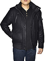 cheap -outfitters men's hooded wool blend bomber jacket - black - large