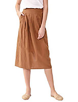 cheap -womens linen bled midi skirt half waistband back slit with pockets summer pleated skirt (brown, large)