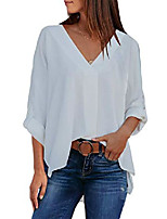 cheap -women high low tunic shirts solid roll up sleeve v neck loose fit blouses tops m white