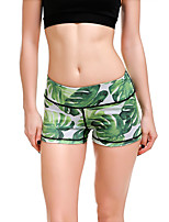 cheap -Women's Sporty Comfort Gym Yoga Shorts Pants Plants Patterned Short Print Green