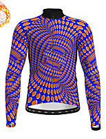 cheap -21Grams Men's Long Sleeve Cycling Jersey Winter Fleece Polyester Blue Bike Jersey Top Mountain Bike MTB Road Bike Cycling Fleece Lining Warm Quick Dry Sports Clothing Apparel / Stretchy / Athleisure