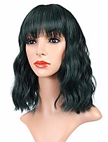 """cheap -vroosar natural dark green wavy wigs short fluffy bob curly wigs with bangs synthetic heat resistant fashion pastel wigs for women colorful wigs for girls cosplay party costume wigs -12"""",mix green"""