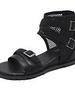cheap -Women's Sandals Wedge Heel Open Toe Classic Roman Shoes Daily PU Solid Colored Black Khaki