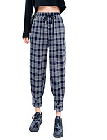 cheap -Women's Basic Streetwear Comfort Daily Going out Jogger Chinos Pants Plaid Checkered Ankle-Length Pocket Black Navy Blue