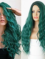 cheap -friya green wigs long wavy curly wig full machine made synthetic fiber hair ombre dark root green glueless wigs for women 24""
