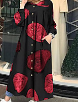 cheap -Women's Swing Dress Maxi long Dress - Long Sleeve Print Split Ruched Patchwork Spring Fall Plus Size Formal Casual Going out Lantern Sleeve Cotton Loose 2020 White Black Red Yellow S M L XL XXL 3XL
