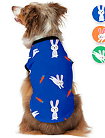 cheap -Dog Shirt / T-Shirt Rabbit / Bunny Printed Cute Casual / Daily Dog Clothes Puppy Clothes Dog Outfits Breathable Blue Orange Green Costume for Girl and Boy Dog Polyster S M L XL
