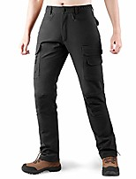 cheap -fleece lined cargo hiking pants for men water resistant softshell pants with 8 pockets for winter sports black large