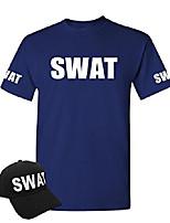 cheap -swat - law enforcement police cop duty - t-shirt + hat combo, l, navy