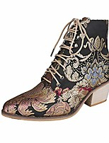 cheap -women's vintage satin embroidered high heel thick with pointed toe ankle boots 41 black