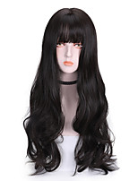 cheap -Synthetic Wig Curly With Bangs Wig Long Light Brown Brown Blue Black Synthetic Hair 26 inch Women's Cool Color Gradient Blue Brown