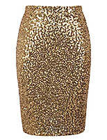 cheap -sequin skirts for women high waist sparkle pencil skirt cocktail party clothing (gold, l)