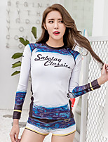cheap -SABOLAY Women's Rash Guard Sun Shirt Windproof Breathable Quick Dry Long Sleeve Swimming Surfing Water Sports Patchwork Summer / Stretchy
