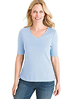 cheap -women's supima cotton v-neck tee, 4/6 - s (0), coastal blue