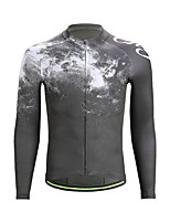cheap -21Grams Men's Long Sleeve Cycling Jersey Jacquard Black Black / White Bike Jersey Top Mountain Bike MTB Road Bike Cycling Sweat-wicking Sports Clothing Apparel / Stretchy / Athleisure