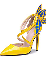 cheap -Women's Heels Stiletto Heel Pointed Toe Sexy Daily Walking Shoes PU Bowknot Color Block Yellow