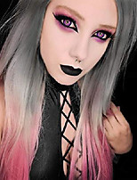 cheap -ombre wigs lace front synthetic long straight wigs for women 3 tones color grey pink wigs center part