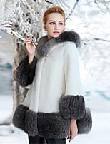 cheap -Long Sleeve Coats / Jackets Faux Fur Office / Career Women's Wrap With Split Joint