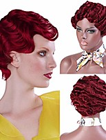 cheap -red finger wave wig short curly wig synthetic full wig for black women