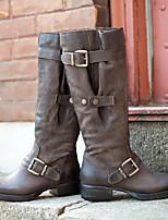 cheap -Women's Boots Flat Heel Round Toe Daily PU Synthetics Light Yellow Black Purple