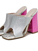 cheap -Women's Heels Chunky Heel Square Toe Casual Daily Walking Shoes PU Color Block Silver