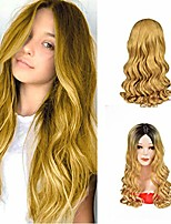 cheap -long wavy synthetic wigs ombre blonde 24 inch wigs with adjustable head net middle part natural looking hair wigs for women cosplay wigs heat resistant fiber(1b/blonde)