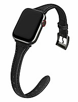 cheap -compatible apple watch band 38mm 40mm women, slim genuine leather watch strap replacement for iwatch se series 6 5 4 3 2 1, (black band paired with black adapter)