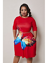 cheap -Women's Sheath Dress Midi Dress - 3/4 Length Sleeve Animal Print Fall Plus Size Elegant Sexy Slim 2020 Red XL XXL 3XL 4XL 5XL