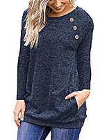 cheap -women's raglan long sleeve t shirts round neck casual tunic blouse with pockets navy blue s