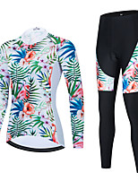 cheap -Women's Long Sleeve Cycling Jersey with Bib Tights Cycling Jersey with Tights Cycling Jersey Winter Black Green Black / White Floral Botanical Bike Breathable Quick Dry Sports Graphic Mountain Bike
