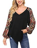 cheap -women's casual boho v neck long sleeve shirts loose black blouse tops