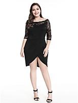 cheap -Women's A-Line Dress Knee Length Dress - Long Sleeve Solid Color Lace Patchwork Spring Plus Size Casual 2020 Black 3XL 4XL 5XL
