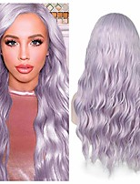 cheap -lilac hair wavy wigs light violet color curly wave hair middle part long wavy wig heat resistant synthetic daily party wig for women