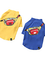 cheap -Dog Shirt / T-Shirt Printed Fashion Cute Casual / Daily Winter Dog Clothes Puppy Clothes Dog Outfits Breathable Yellow Blue Costume for Girl and Boy Dog Cotton S M L XL XXL 3XL