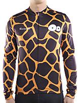 cheap -21Grams Men's Long Sleeve Cycling Jersey Winter Fleece Polyester Black Giraffe Bike Jersey Top Mountain Bike MTB Road Bike Cycling Thermal Warm Fleece Lining Breathable Sports Clothing Apparel