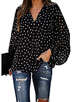 cheap -womens casual long sleeve blouses v neck chiffon t-shirts casual floral printed tops black l
