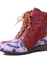 cheap -Women's Boots Wedge Heel Round Toe Daily Walking Shoes Leather Lace-up Floral Red / Mid-Calf Boots