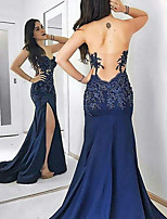 cheap -Mermaid / Trumpet Beautiful Back Sexy Engagement Formal Evening Dress Sweetheart Neckline Sleeveless Sweep / Brush Train Satin with Split Lace Insert Appliques 2020