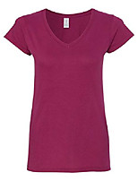 cheap -womens 4.5 oz. softstyle junior fit v-neck t-shirt (g64vl) -berry -xl