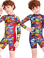 cheap -Boys' Rash Guard Dive Skin Suit Diving Suit Breathable Quick Dry Long Sleeve Back Zip - Swimming Surfing Water Sports Painting Summer / Stretchy / Kid's