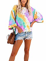 cheap -women's tie-dye print t-shirt top round neck long sleeve loose casual pullover (medium, multicolor)