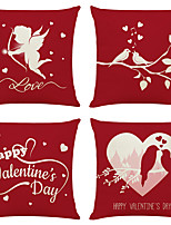 cheap -Cushion Cover 4PCS Valentine' Party Decoration Linen Soft Decorative Square Throw Pillow Cover Cushion Case Pillowcase for Sofa Bedroom 45 x 45 cm (18 x 18 Inch) Superior Quality Machine Washable